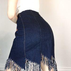 Vintage Skirts - Vintage Denim Midi Skirt with Raw Fringe Hem